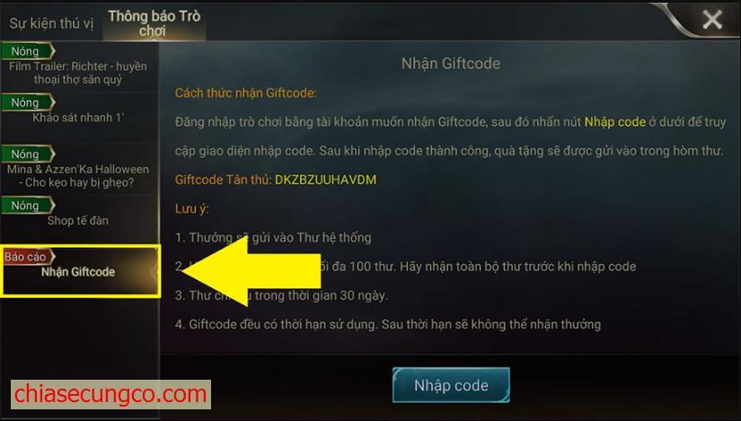 Cách sử dụng giftcode liên quân