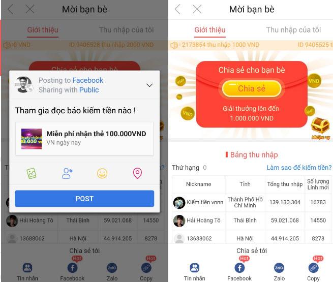 Kêu gọi bạn bè người thân tải app kiếm tiền - ĐA CẤP